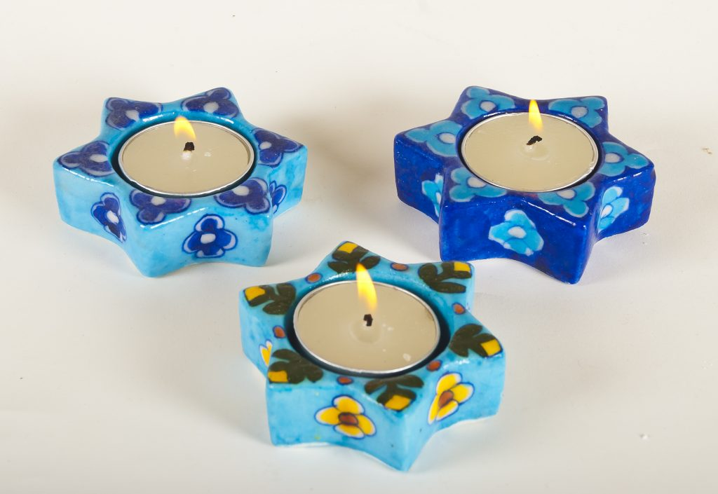 Blue Pottery Star T-Light